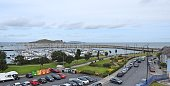 Panoramic view of Howth Harbour in the distance, in North County Dublin