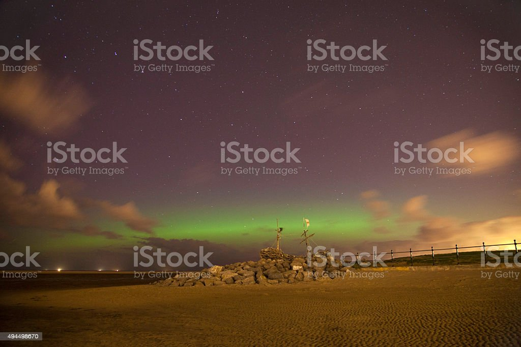 Hoylake Northern Lights royalty-free stock photo