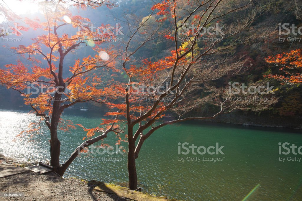 Hozu-gawa river in Arashiyama ,Kyoto ,Autumn season stock photo