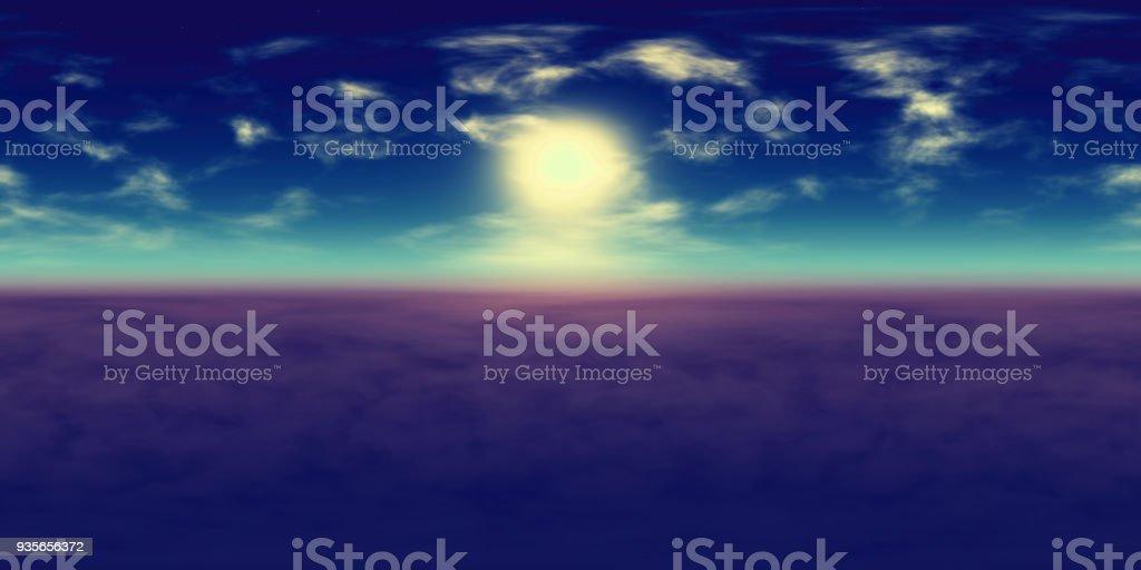 HR-Umwelt 360-Grad-HDRI-Karte, sphärischen Panorama, 3d Illustration Hintergrund, 8k, Equirectangular Projection (lebendige blauer Himmel mit Sonne, weiße Wolken und Sterne über fremdartigen Landschaft), Landschaft, Natur, Beleuchtung, outdoor, Umwelt, – Foto