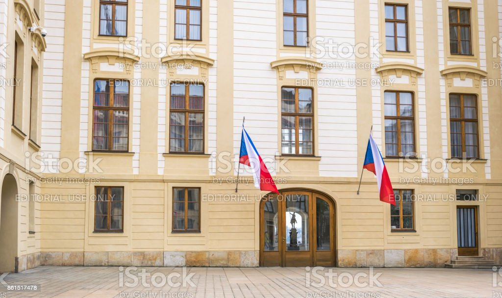 Hradcany, historical quarter of Prague, the capital of the Czech Republic. The facade of the government building in Prague stock photo
