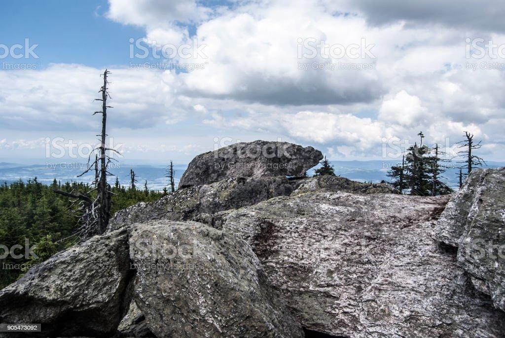 Hranicni skaly rocks in Kralicky Sneznik mountains on czech - polish borders stock photo