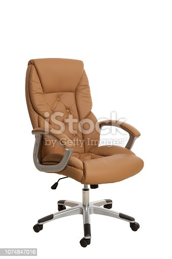 Тhree-fourths view of a luxury manager office chair, upholstered with light brown leather. Isolated on white background.