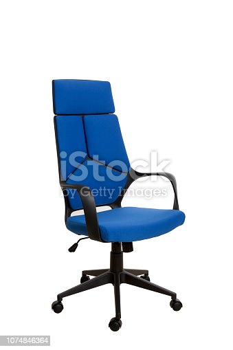 Тhree-fourths view of a modern office chair, made of black plastic, upholstered with royal blue textile. Isolated on white background.