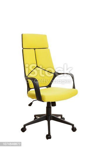 Тhree-fourths view of a modern office chair, made of black plastic, upholstered with yellow textile. Isolated on white background.