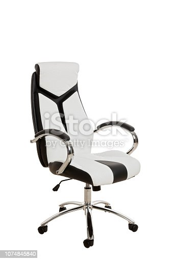Тhree-fourths view of a modern office chair, upholstered in a white and black leather, isolated on white background.