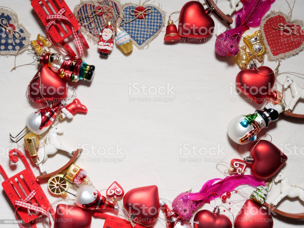 hristmas collection, gifts and decorative ornaments with copy space. stock photo