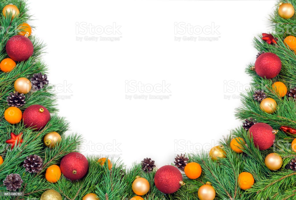 hristmas garland with green natural pine branches with cones isolated on white stock photo