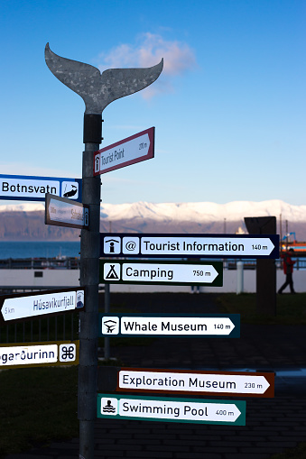 istock Húsavík, Iceland: Signposts for Tourists at Harbor 1189614751