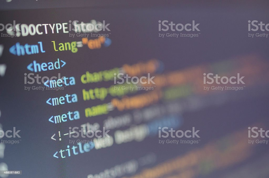 html web design code stock photo