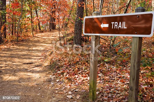 Autumn landscape of a footpath with a trail sign in the Blue Ridge Mountains of north Georgia.