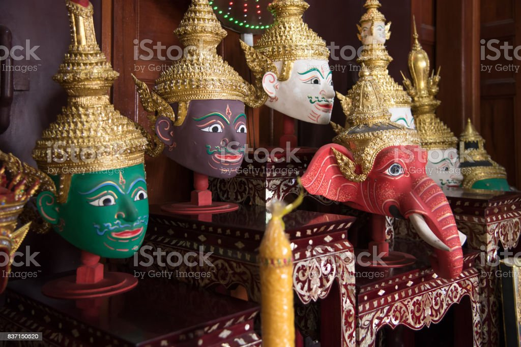 Hua Khon or Khon mask part of the costume of performers of Thai traditional dance stock photo