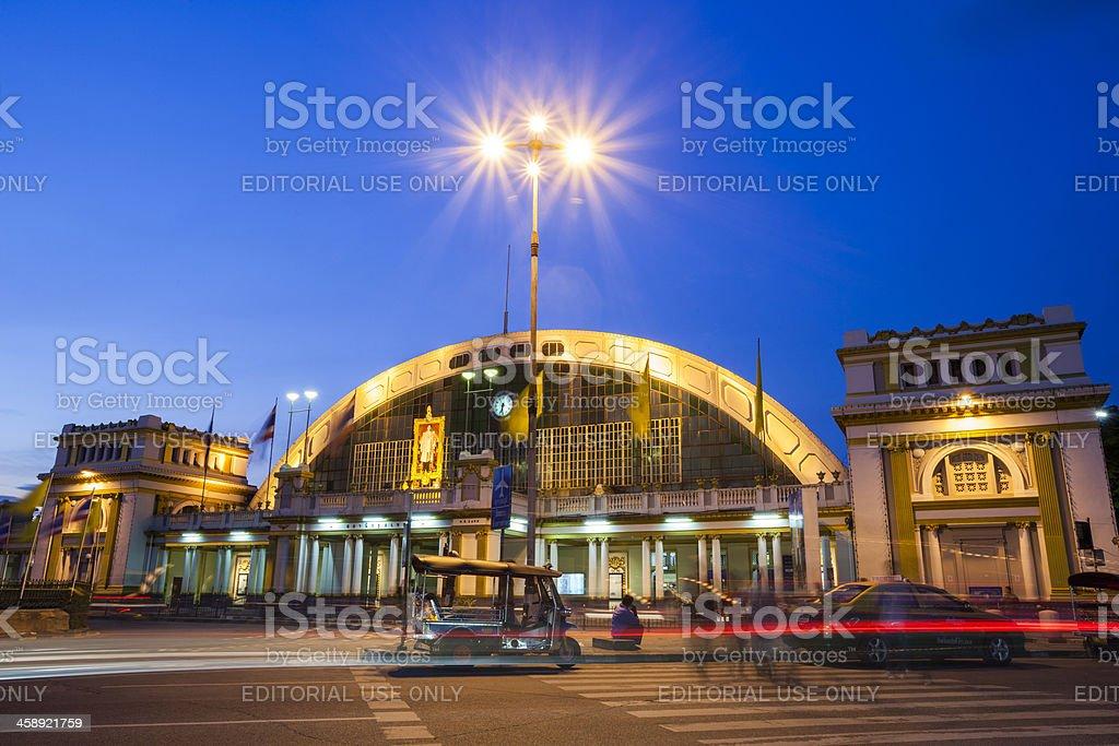 Hua Lamphong Railway Station in central Bangkok by night royalty-free stock photo