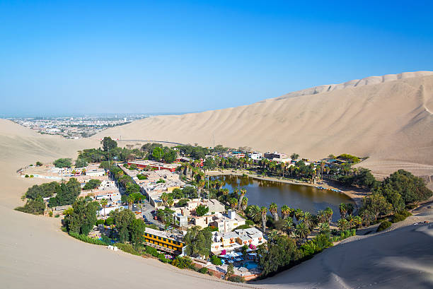 Huacachina with Ica in the Background stock photo