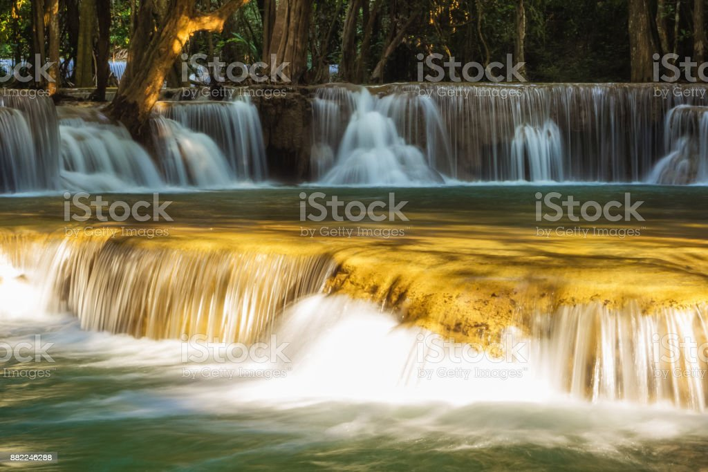 Huai Mae Khamin Waterfall at Kanchanaburi, Thailand stock photo