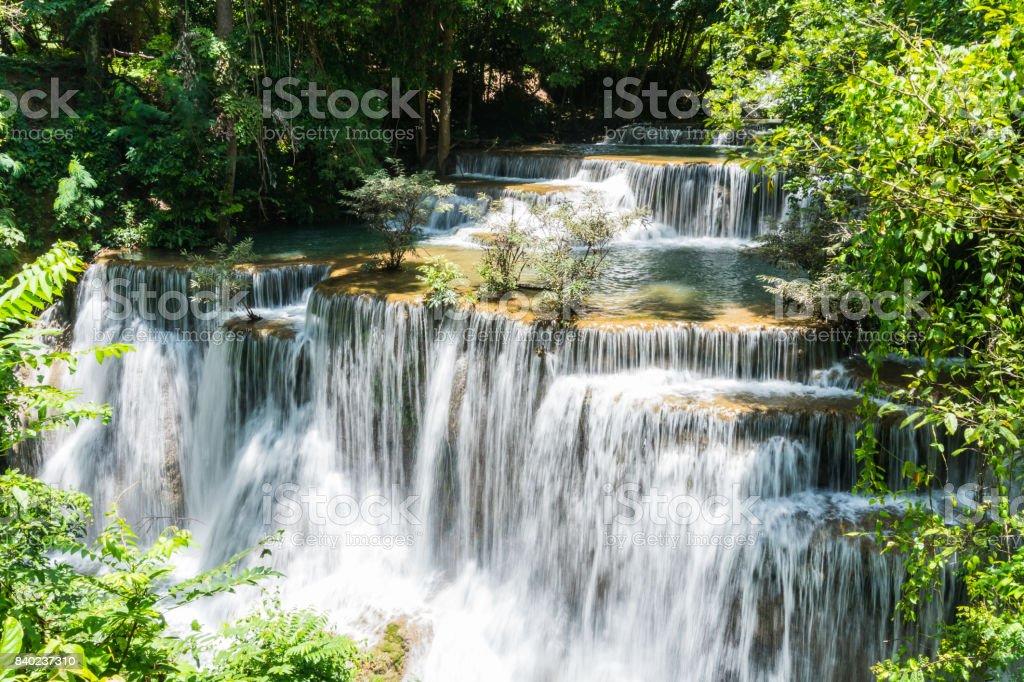 Huai mae khamin waterfall in khuean srinagarindra national park at kanchanaburi thailand stock photo