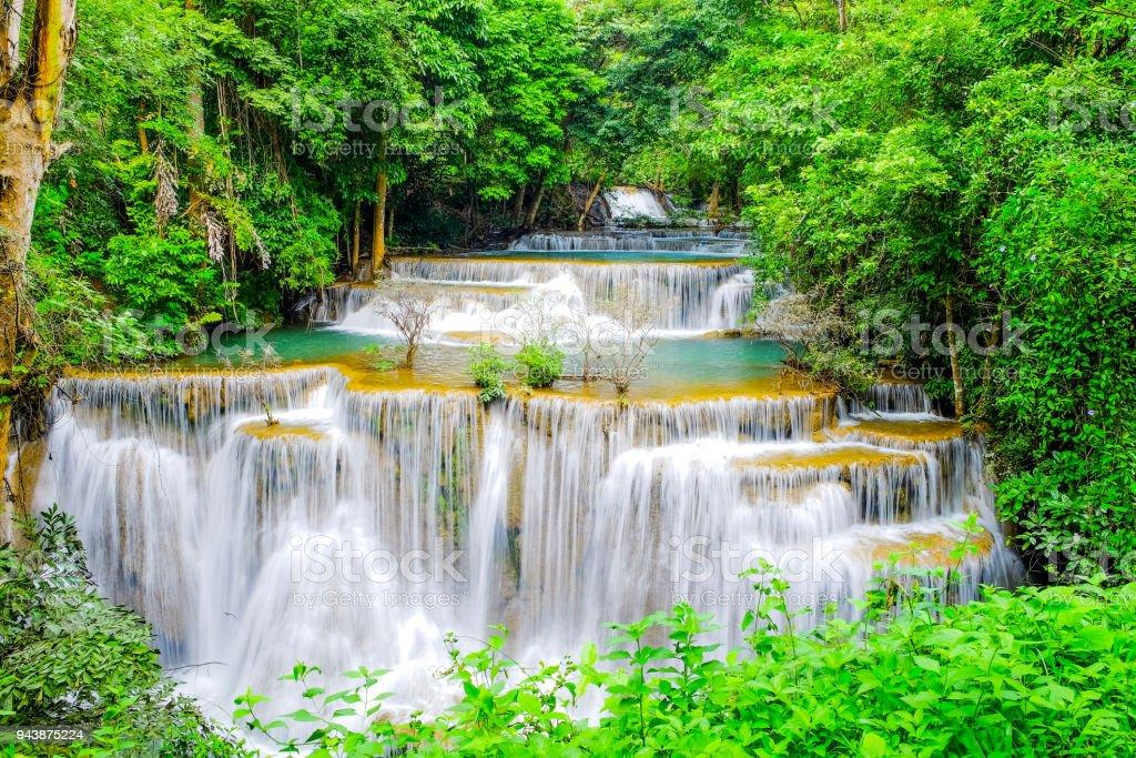 Huai Mae Khamin Waterfall, Kanchanaburi, Thailand stock photo