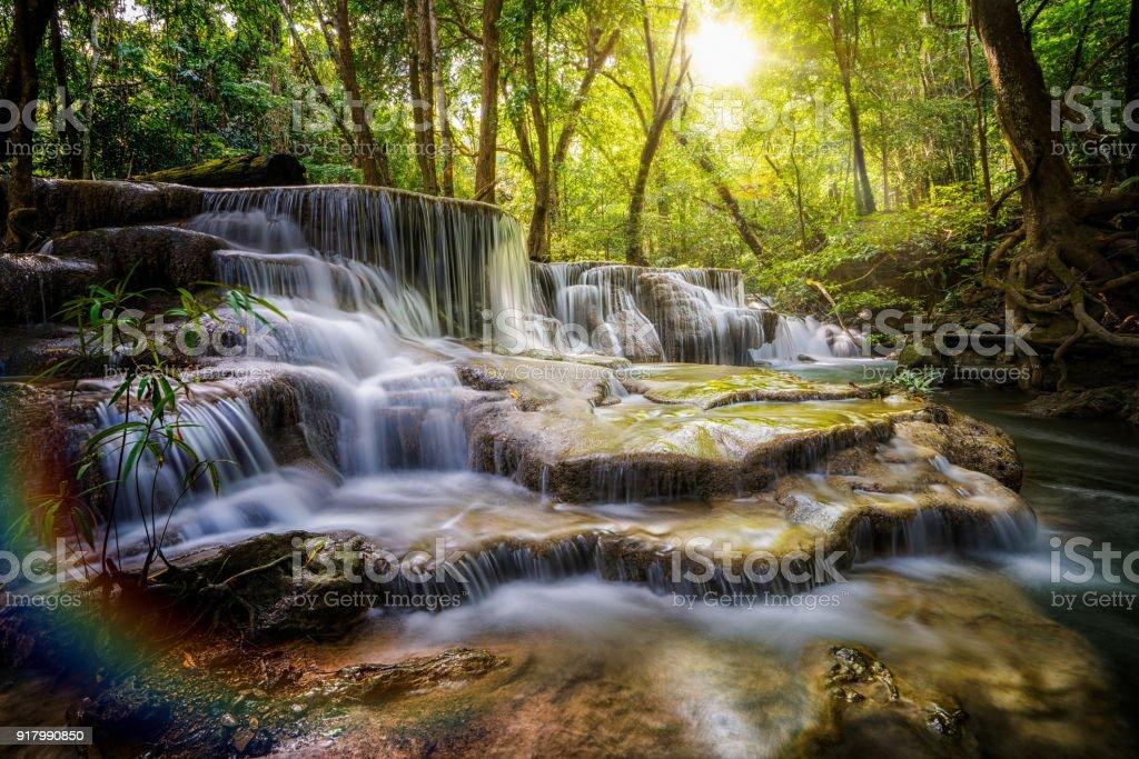 Huai Mae Khamin waterfall the layer of stone stock photo