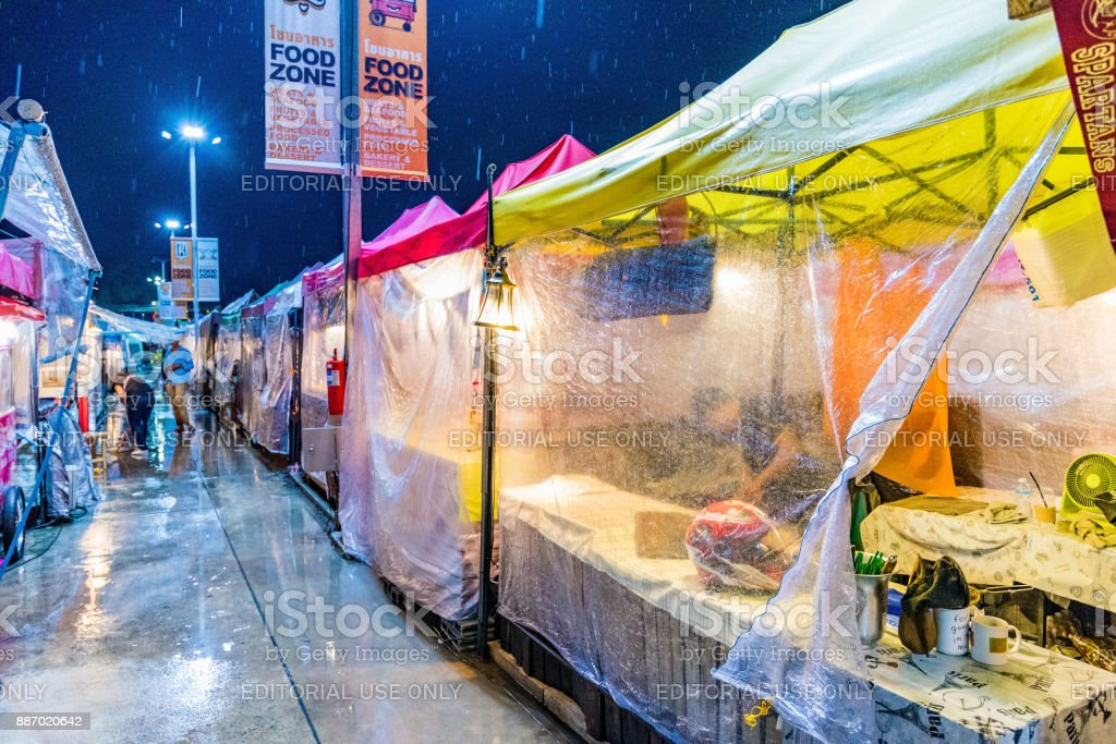 Huamum night market on a rainy night stock photo