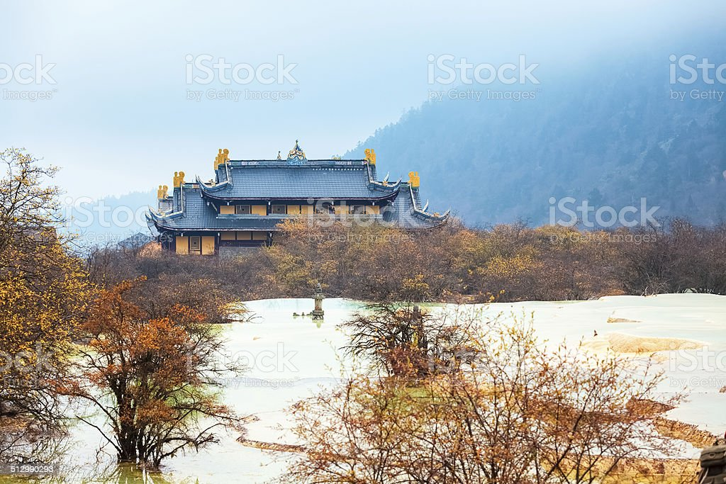 huanglong autumn scenery in China stock photo
