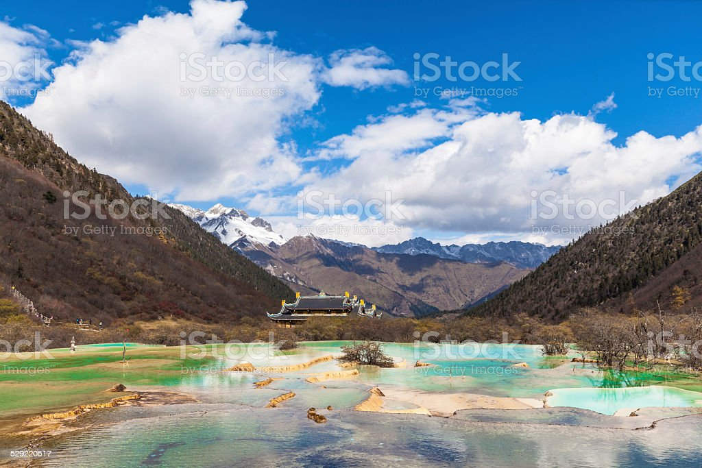 Huanglong National park in Sichuan China stock photo