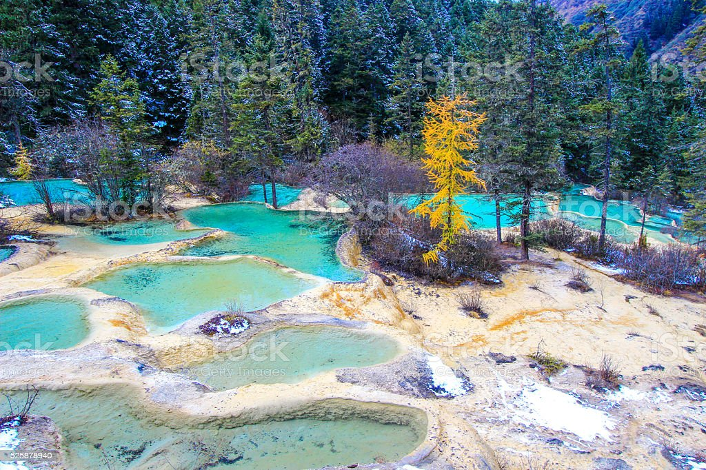 Huanglong National Park in the northwest part of Sichuan, China. stock photo