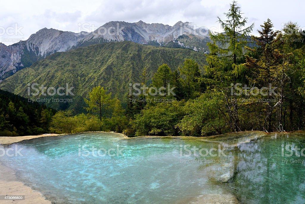 Huanglong National Park near Jiuzhaijou Sichuan, China stock photo