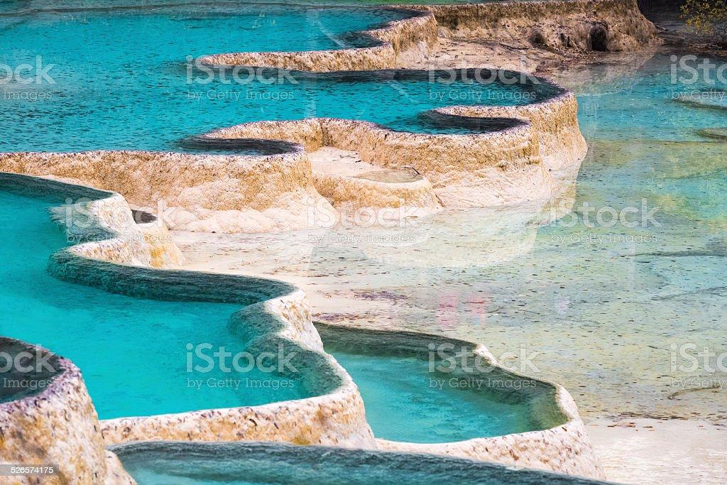 huanglong travertine ponds stock photo