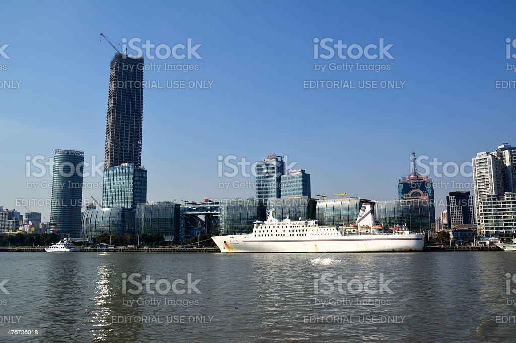 Huangpu River and Shanghai International Cruise Center stock photo