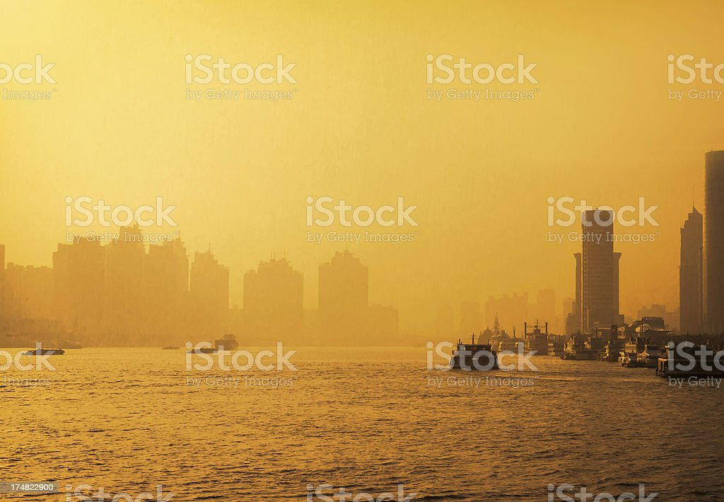 Huangpu river in Shanghai royalty-free stock photo