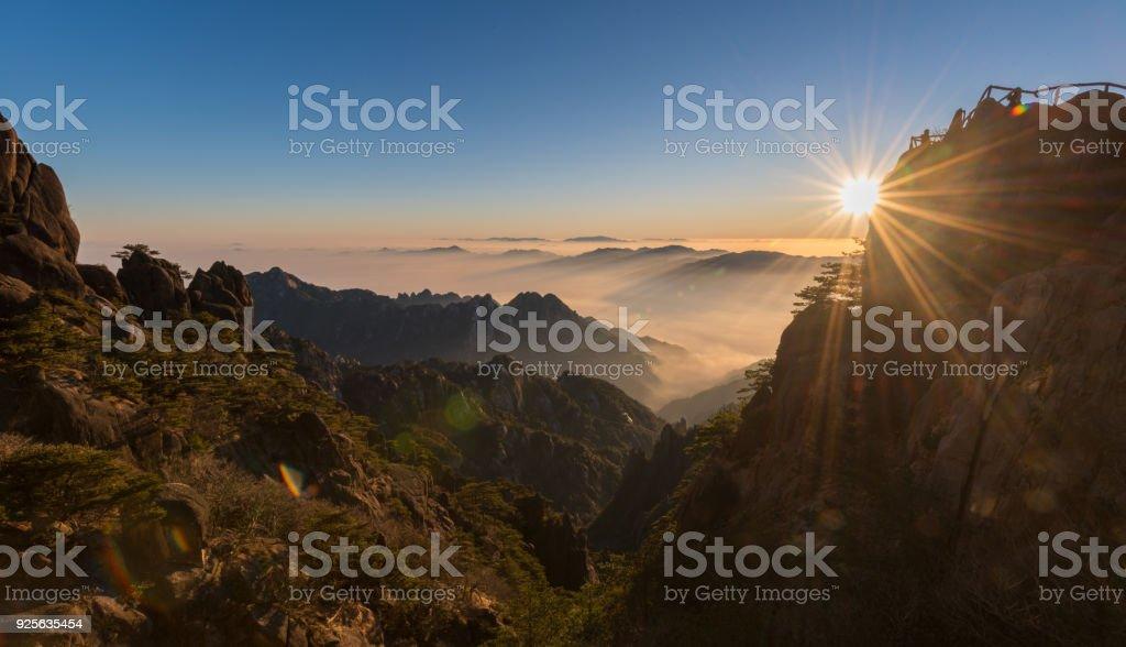 Huangshan Mountain - Bright top peak - Guangming ding stock photo