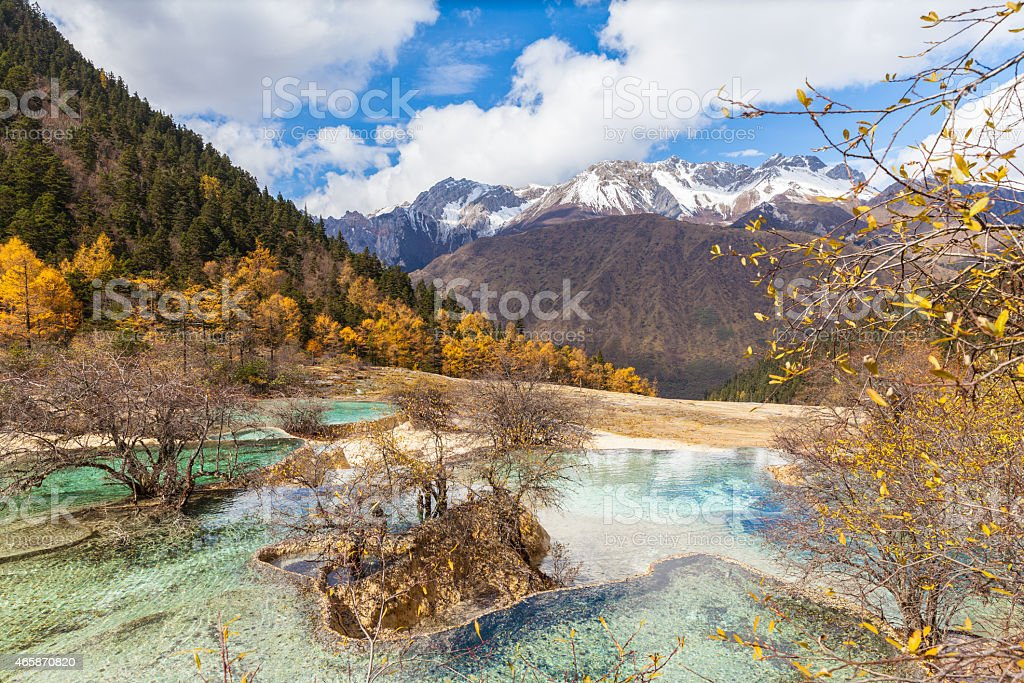 Huanlong national park in Sichuan Province, China stock photo
