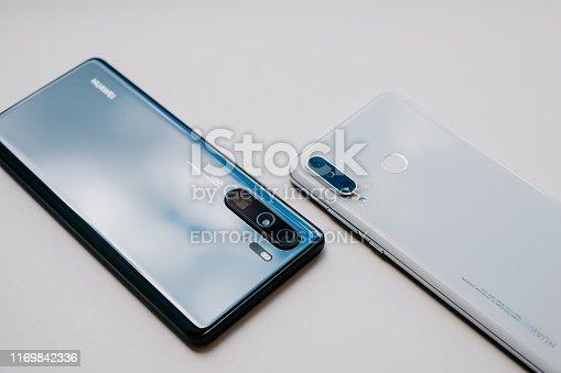 SAIGON / VIETNAM, 8 MAY 2019 - HUAWEI P30 LITE smartphone is displayed for editorial purposes