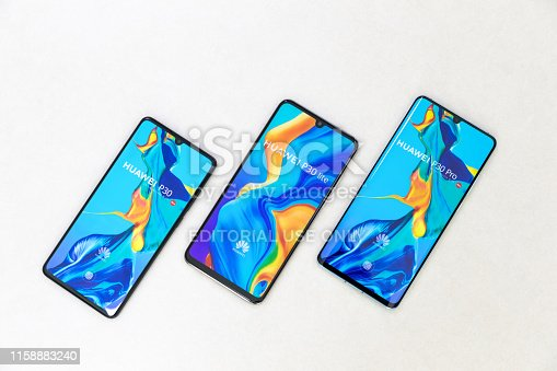 Belgrade, Serbia - Jun 27, 2019: Three new Huawei P30, P30 Lite and P30 Pro cellphones are displayed on isolated white background.