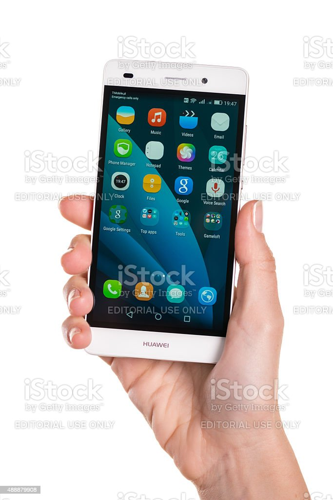 Huawei P8 Lite In Woman Hand Stock Photo - Download Image