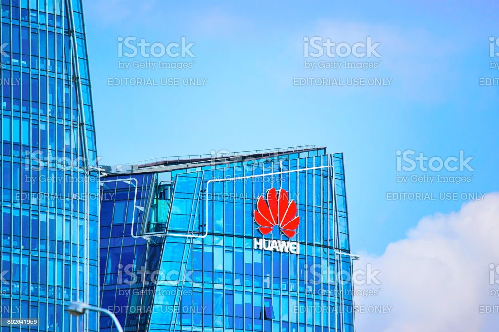 Huawei Technologies company headquarter at skyscraper in Vilnius
