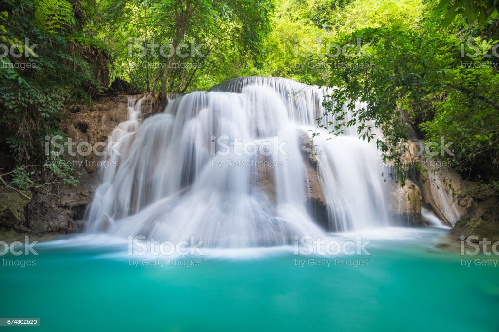 Huay Mae Kamin waterfall at Kanchanaburi, Thailand stock photo