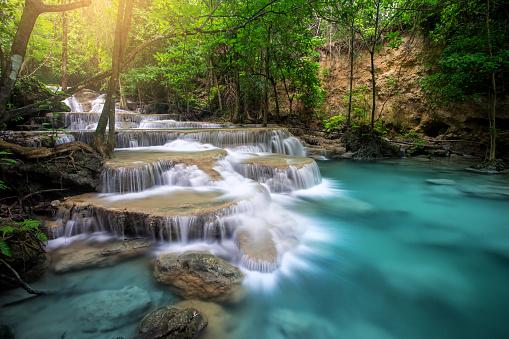 Huay Mae Kamin Waterfall, beautiful waterfall in rainforest at Kanchanaburi province, Thailand