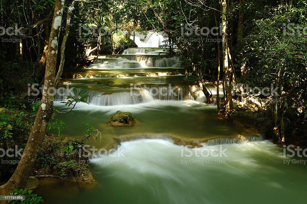 Huay Mae Kamin Waterfall in a National Park, Kanchanaburi, Thailand royalty-free stock photo
