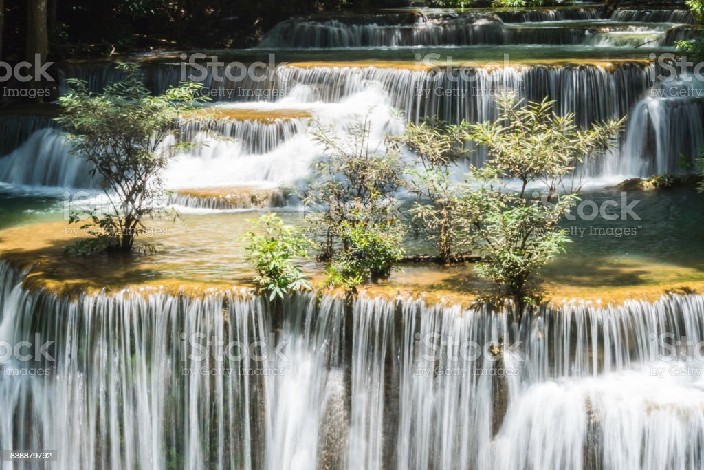 Huay mae kamin waterfall in khuean srinagarindra national park at kanchanaburi thailand stock photo