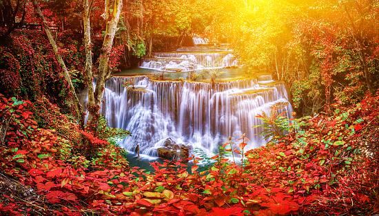 1131408581 istock photo Huay Mae Kamin waterfall in Thailand waterfall is beautiful, do 519706560