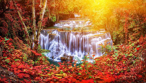 Huay Mae Kamin waterfall in Thailand waterfall is beautiful, do stock photo