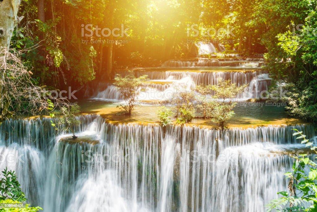 Huay mae khamin waterfall in khuean srinagarindra national park at kanchanaburi thailand stock photo