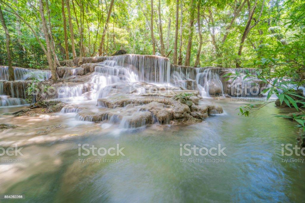Huay Mae Khamin waterfall in national park, Thailand stock photo