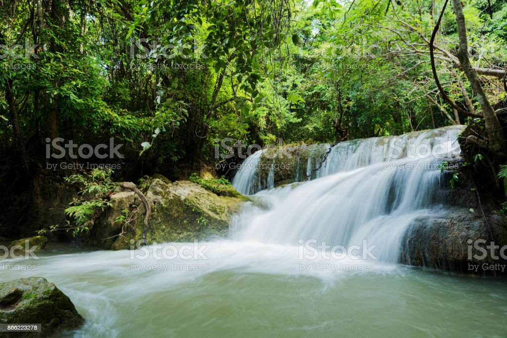 Huay Mea Kamin waterfall stock photo