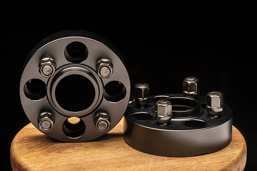 Hub spacers. auto tuning and spare parts for cars and sports car drift. the wheel comes out of the wheel arch.