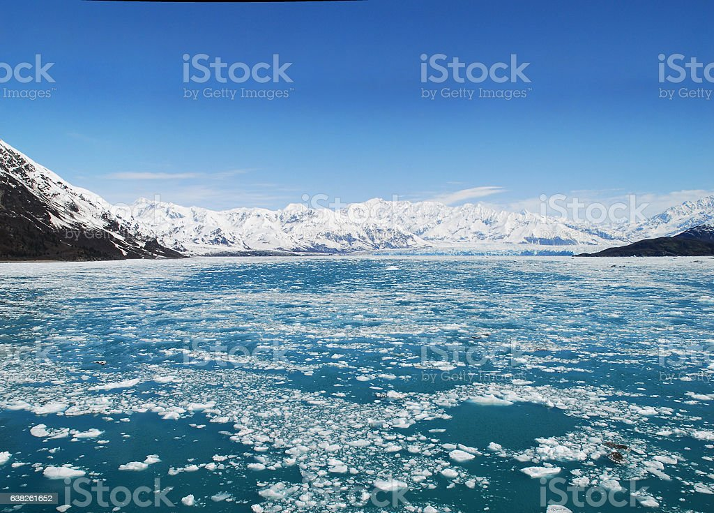 Hubbard Glacier in Alaska With Icy Water in Foreground stock photo