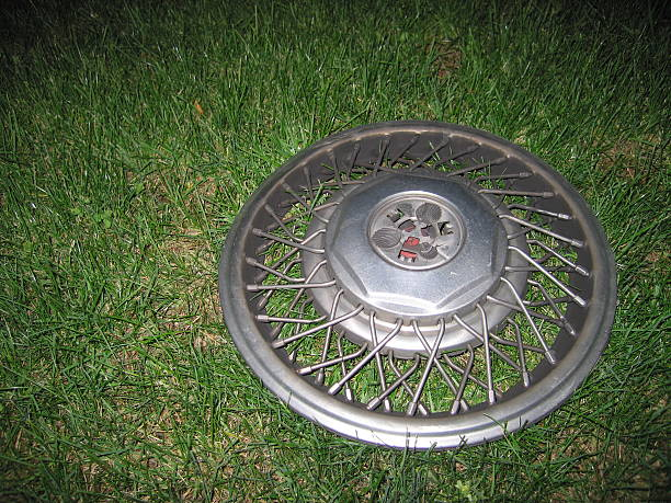 Hubcap In The Grass stock photo
