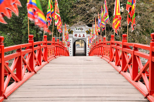 Huc Bridge In Hanoi Early Morning No People Stock Photo - Download Image Now