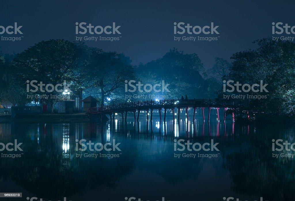 Huc bridge in the night of Hanoi royalty-free stock photo